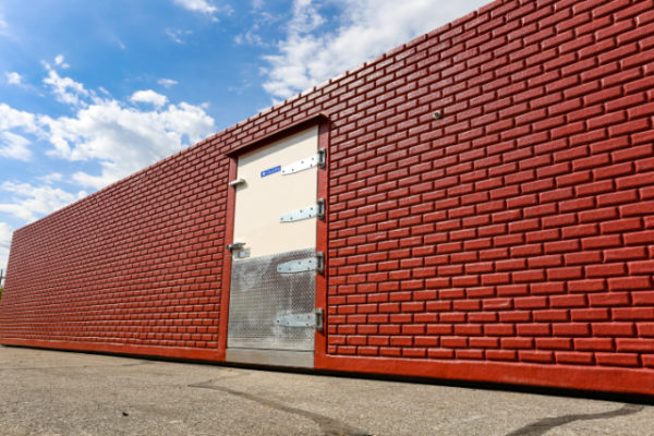 Red brick exterior of freezer unit