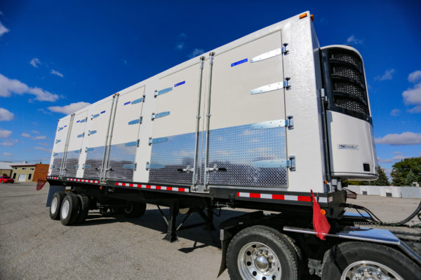 Refrigerated trailer outside on wheels