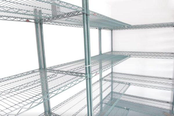 Metal shelving in a Polar King walk-in cooler freezer