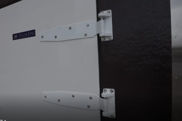 White door of PKI black mobile freezer cooler