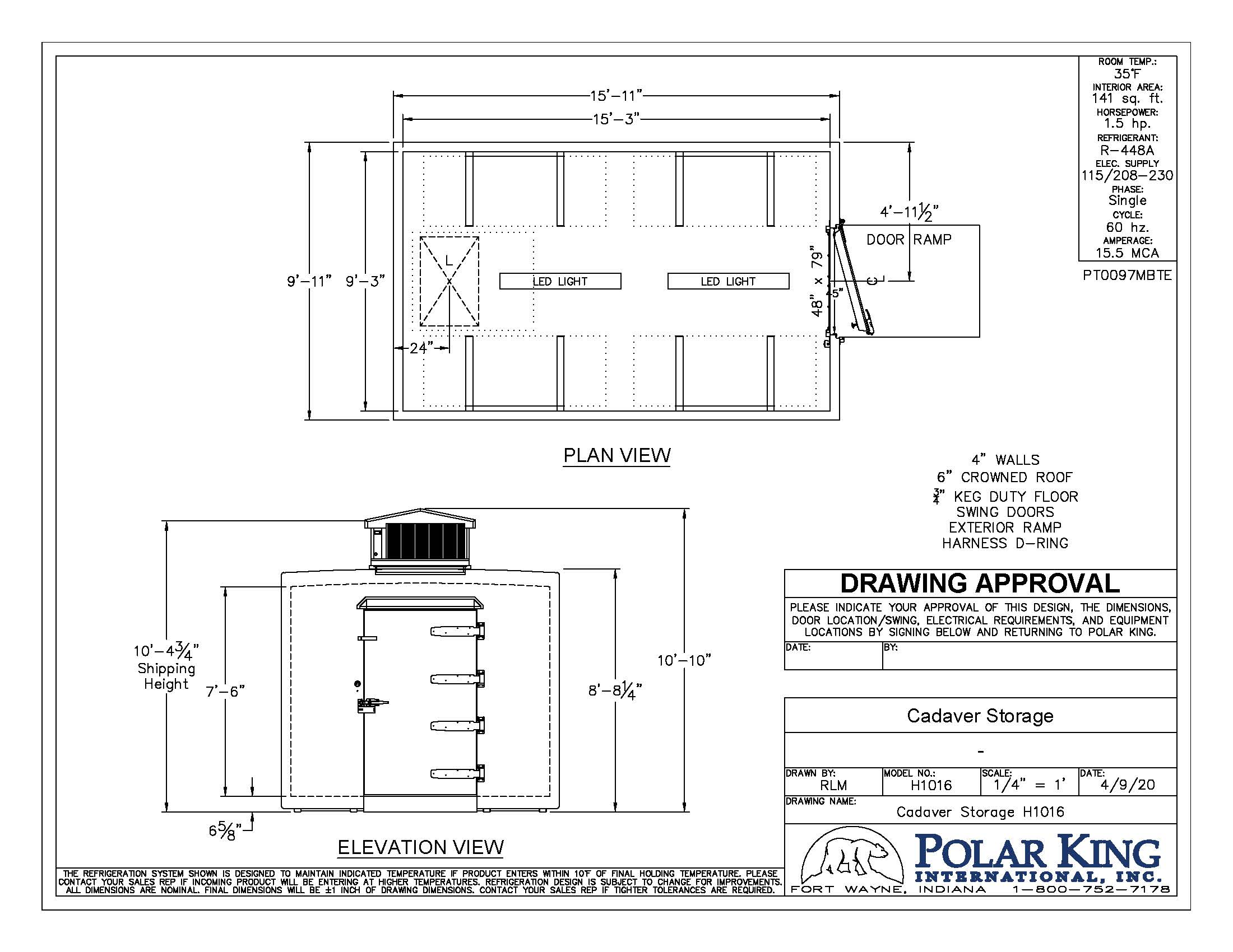 Cadaver storage unit outline walk-in cooler
