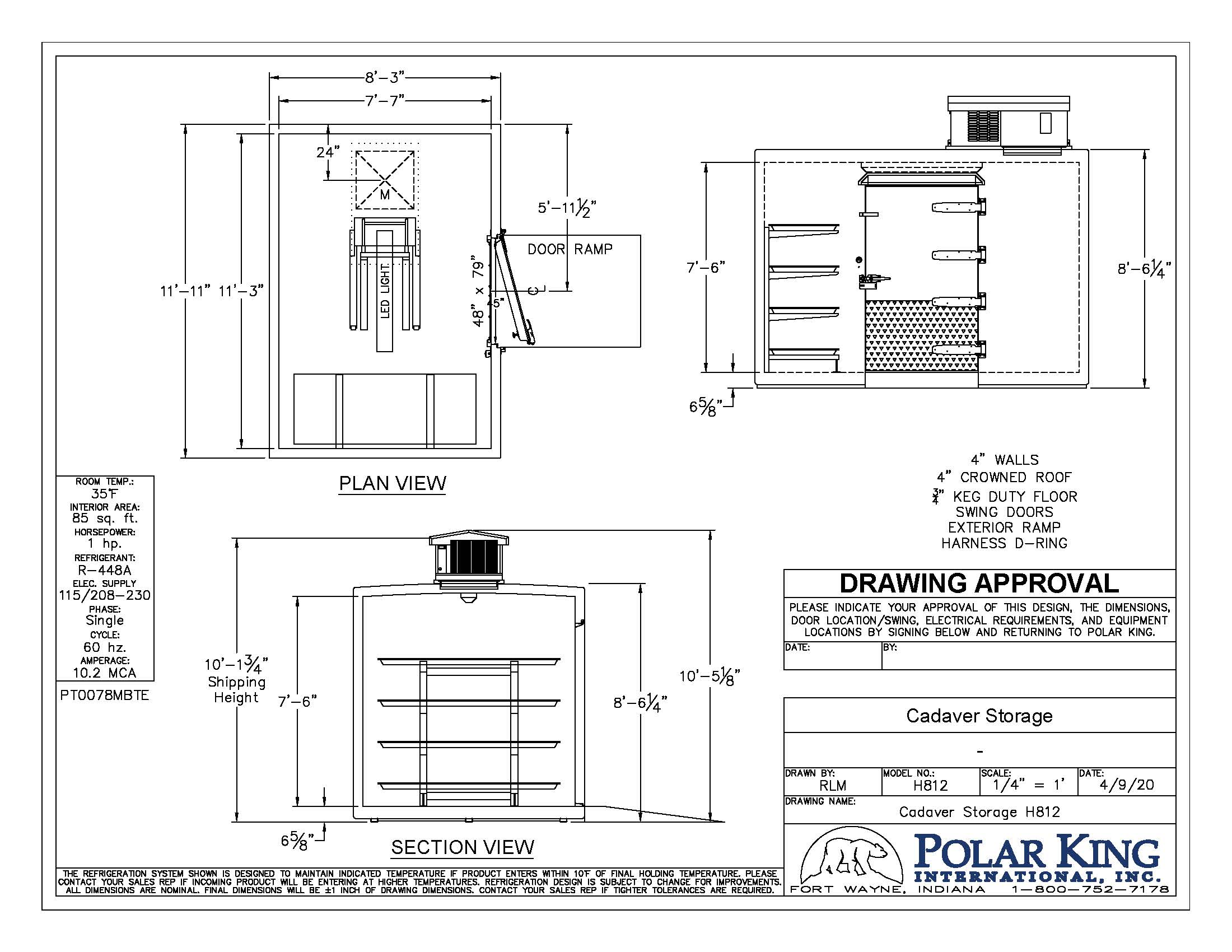 Black and white outline of a storage unit with Polar King logo at the bottom