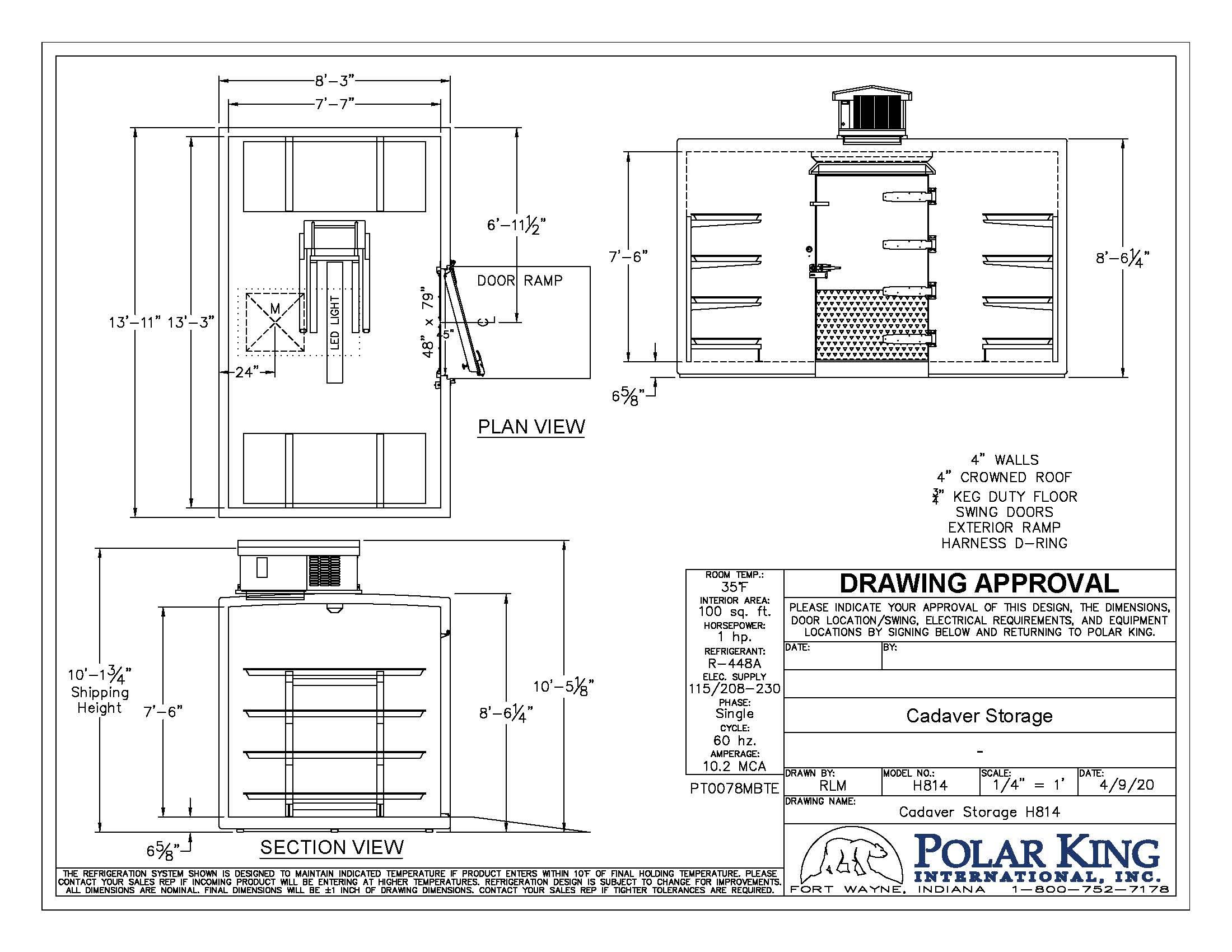 Black and white diagram of Cadaver Storage unit H814