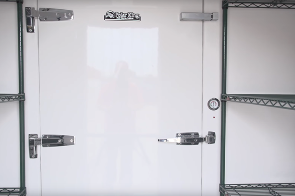 White door of Polar King walk-in freezer