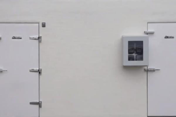 White walls and two doors of Polar King walk-in fridge