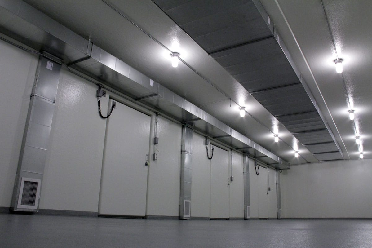 Inside of a refrigerated building Polar King with three white doors