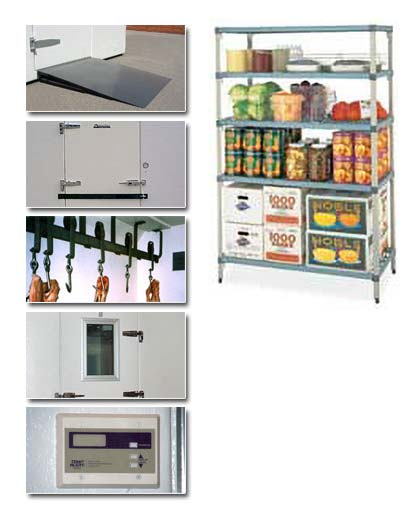 Food shelving and different parts of Polar King freezer unit
