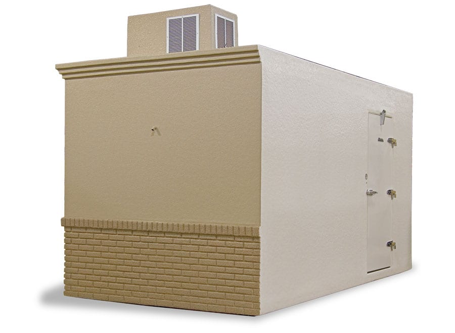 Corner view of brick brown Polar King portable walk-in cooler