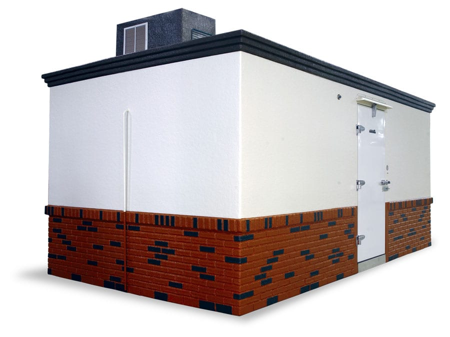 Polar King white and red brick freezer unit for country club
