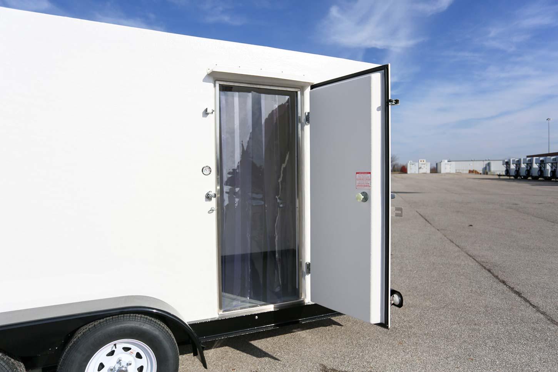 Commercial cooler with door open